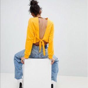 ASOS Ocher Yellow Sweatshirt With Open Knot Back